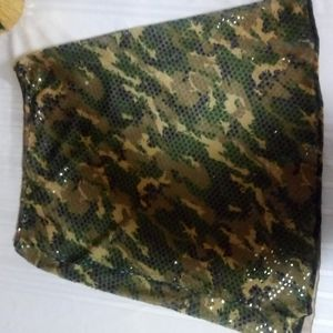 Sequins and camouflage skirt